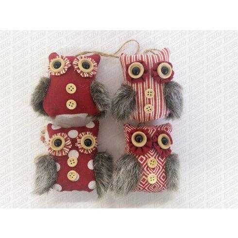 Karácsonyi textil bagoly 8cm - 485990