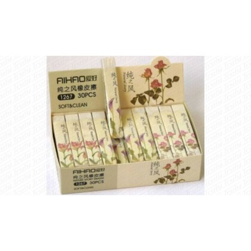 Radír Aihao virágos fehér 1267