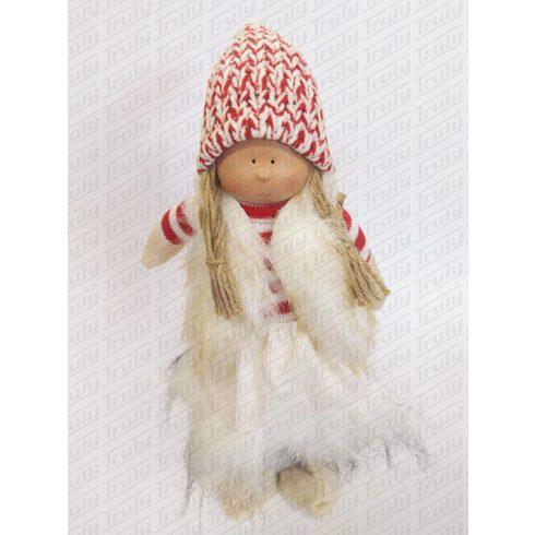 Karácsonyi textil lány álló 32cm - 454178
