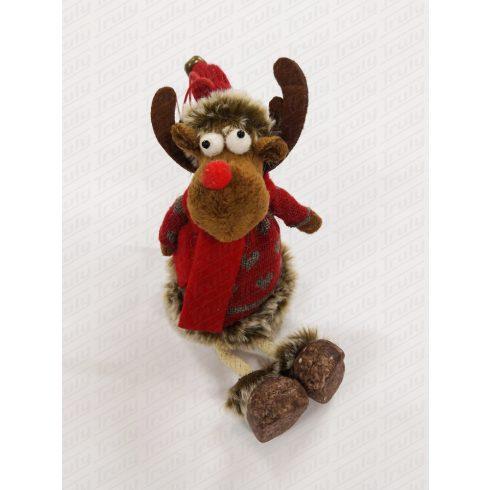 Karácsonyi ülő rénszarvas 20cm kötött ruciban 456992