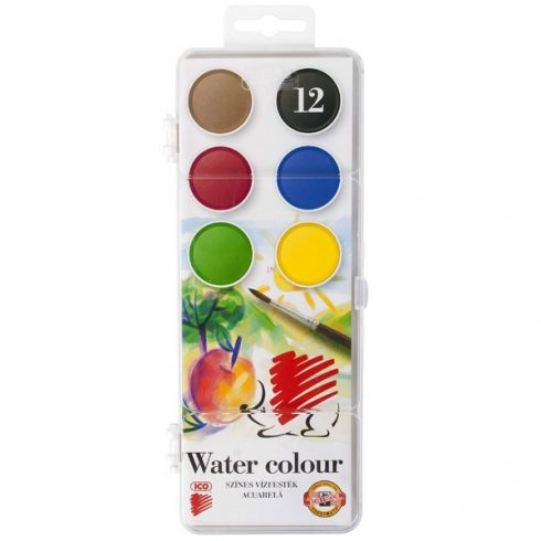 Vízfesték 12 színű Ico Süni nagygombos